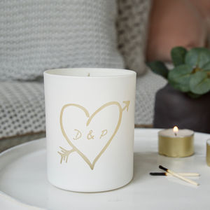 Glow Through Carved Heart Personalised Candle - candles