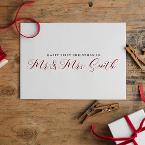 Personalised New Mr And Mrs Christmas Card