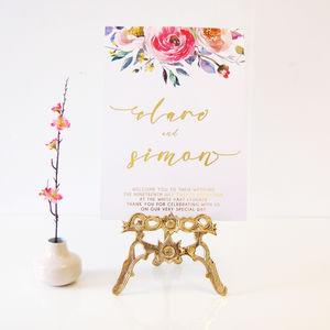 Watercolour Floral Gold Foil Personalised Wedding Sign