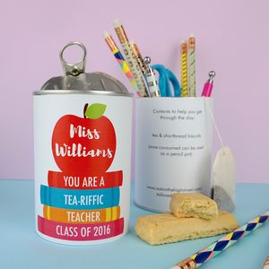 Thank You Teacher Gift Tin You're Tea Riffic - personalised