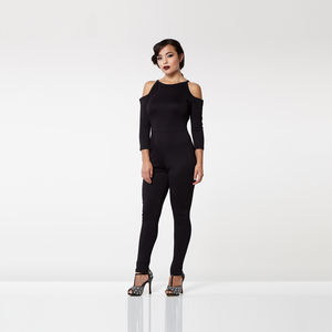 Cold Shoulder Bodycon Jumpsuit - trousers & leggings