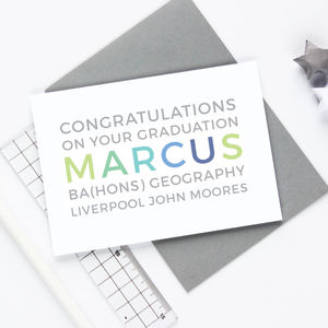 Personalised 'Congratulations' Graduation Card