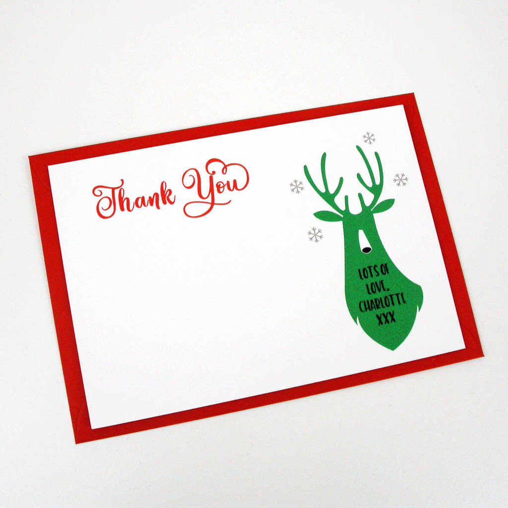 Green Christmas Deer Thank You Card By Moonglow Art