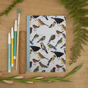 British Garden Birds Illustrated A5 Notebook