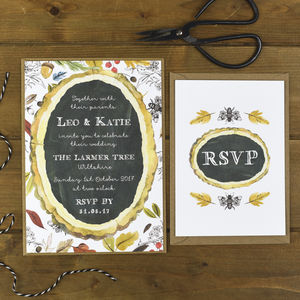 Autumn Botanical Wedding Invitation And RSVP - wedding stationery
