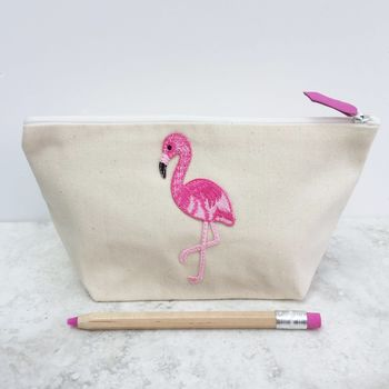 Flamingo Heart Smiley Face Make Up Bag Zip Pouch