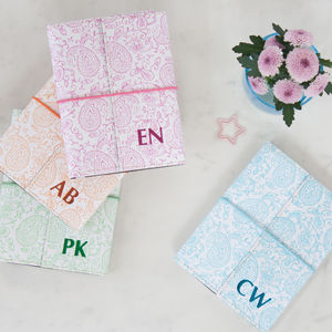 Personalised Recycled Pastel Paisley A6 Notebook