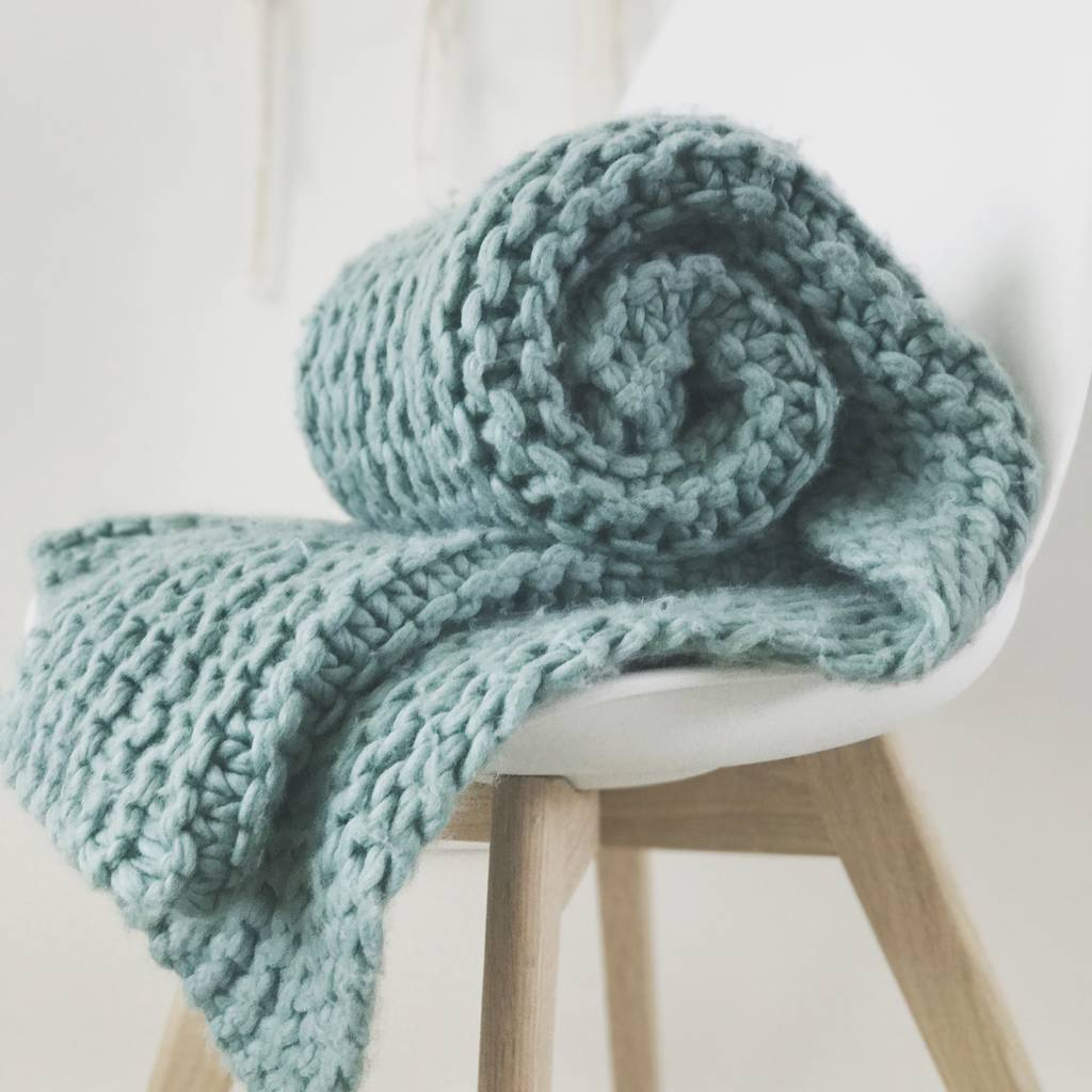Knitting A Chunky Blanket : Blanket knit kit super chunky diy giant throw by wool