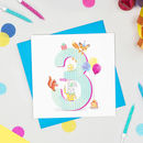 Age Three 'The Birthday Bunch' Animal Card