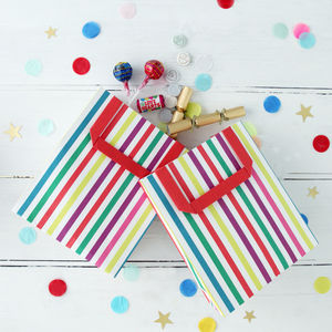 Stripy Multi Colour Party Bags With Handle - gift bags & boxes