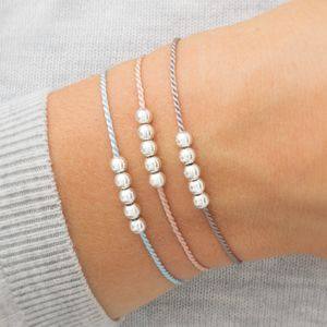 Personalised Sterling Silver And Silk Wish Bracelet - bracelets & bangles