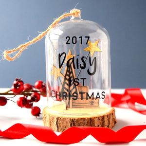 Personalised 1st Christmas Snow Globe Bauble - baby's first christmas