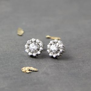 Crystal Encrusted Round Studs - earrings