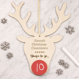 Personalised Christmas Countdown Stag Head