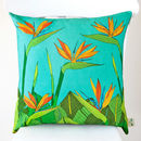 Tropical Bird Of Paradise Flower Cushion Cover