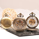 Engraved Pocket Watch Star Design
