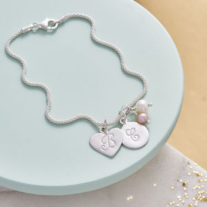 Silver Bracelet With Birthstone And Initial - gifts for her