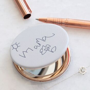 Personalised Handwriting Grey Compact Mirror