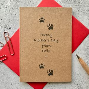 Cat Paw Print Mother's Day Card - cards