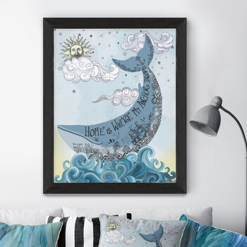 Blue Whale Print, Home Is Where…, New Home Gift