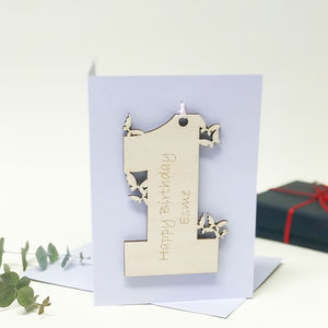 Personalised 1st Birthday Card With Butterflies