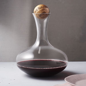 Wine Carafe With Personalised Oak Stopper - mother's day gifts