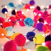 Pom Pom Fairy Light Garland - christmas decorations