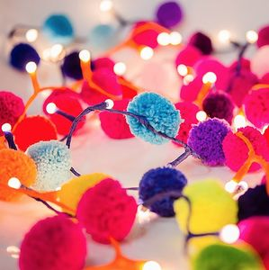 Pom Pom Fairy Light Garland - outdoor decorations