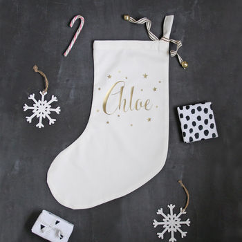 Personalised Gold Star Name Christmas Stocking