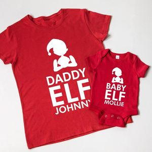 Personalised Christmas Elf Family T Shirts