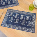 Set Of Four Summer Dining Botanical Blue Placemats