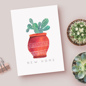 'New Home' Cactus Greeting Card