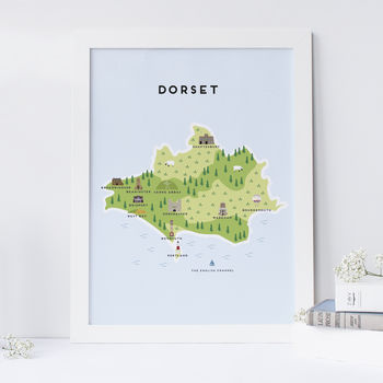 Map Of Dorset Print