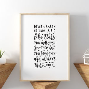 Friends Are Like Stars Friendship Print - typography