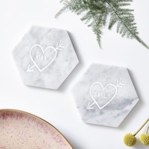 Couples Carved Heart Personalised Marble Coaster