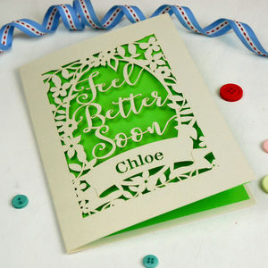 Personalised Papercut Feel Better Soon Cream Card - get well soon cards