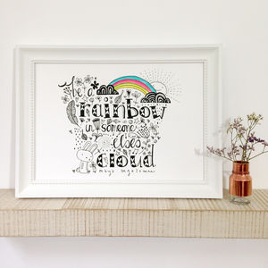 'Be A Rainbow' Inspirational Quote Art Print