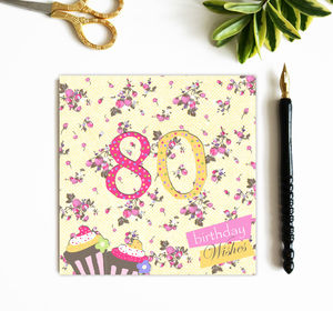 80th Birthday Card With Crystal Gem