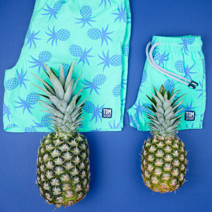 Father And Son Matching Pineapples Swim Shorts - men's fashion