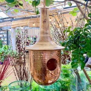 Copper Bird House With Wooden Roof