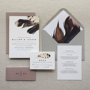 Bohemian Feather Wedding Invitation Suite - wedding stationery