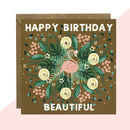 'Happy Birthday Beautiful' Flamingo Card