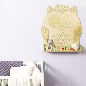 Personalised Owl Wooden Children's Shelf - living room