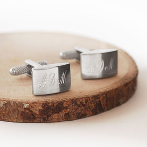 Personalised Brushed Finish Cufflinks - cufflinks