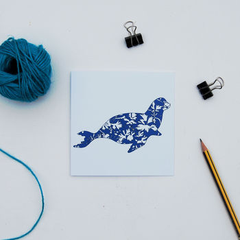 Blue Pattern Seal Card