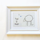 Embroidered Ivory 'Sheep' Picture - Custom Embroidery