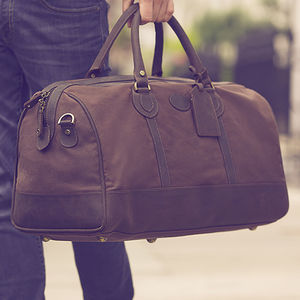 Waxed Canvas And Leather Travel Holdall - mens