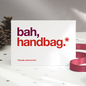Autocorrect 'Handbag' Christmas Card Single Or Pack - cards & wrap