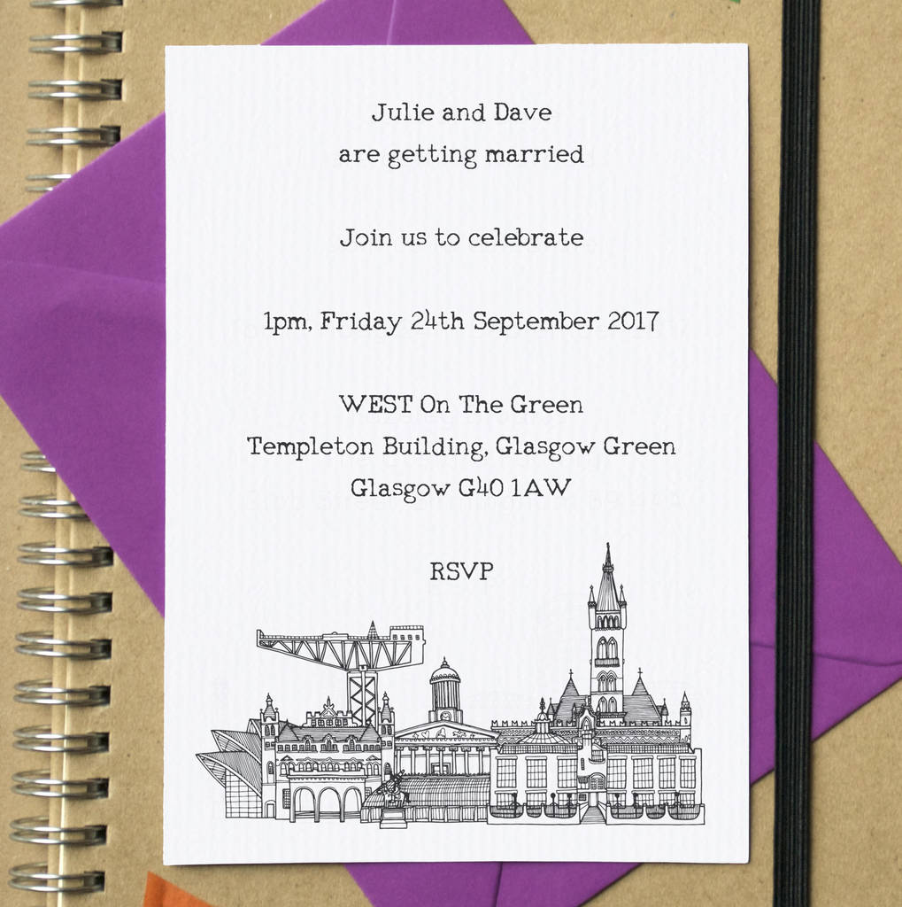 city skyline postcard wedding or party invites by becka griffin