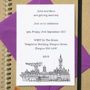 City Skyline Postcard Wedding Or Party Invites